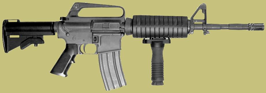 Photo is of the M4 vertical grip attached.  Equates to a M4 handgrip, M4 grip, or carbine vertical grip or carbine handgrip.