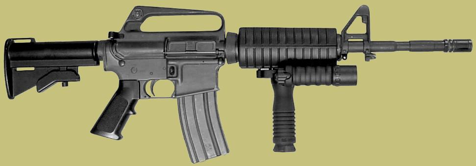 In this photo the RMgrip with the flahslight accessory is mounted to the M4 carbine grip.
