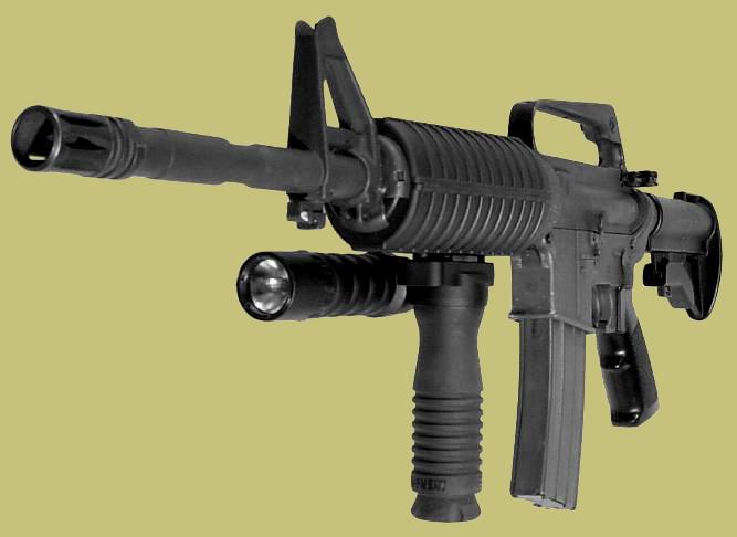 RMgrip with light provides the M4 with a forward handgrip that does not need tools nor rail to attach